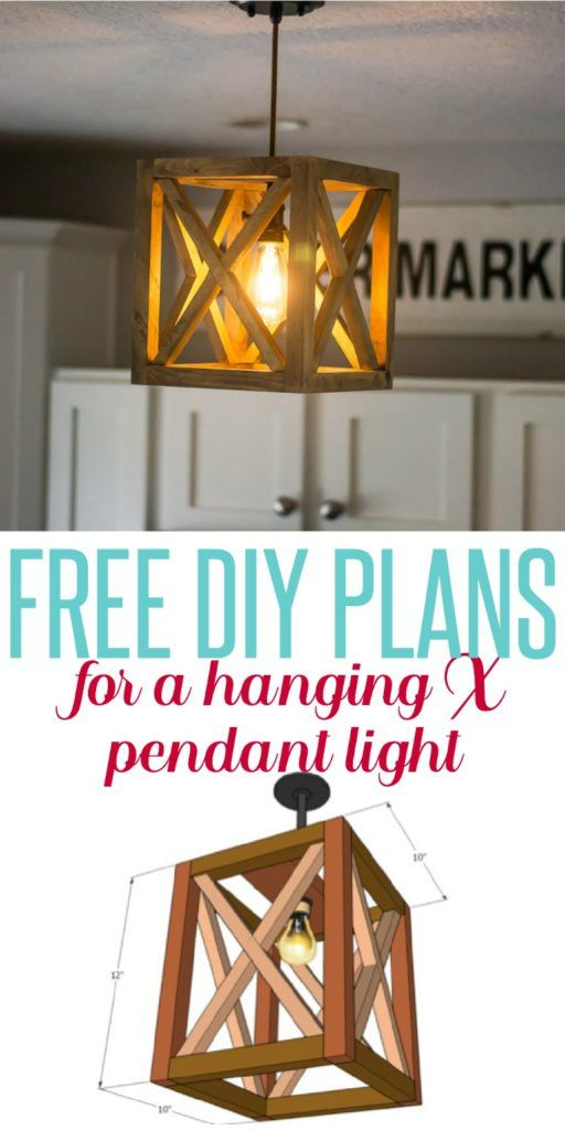 X Wood Hanging Pendant get free DIY plans to create this pendant light for under $20!