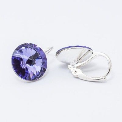 Swarovski Rivoli Earrings 12mm Tanzanite  Dimensions: length: 1,7cm stone size: 12mm Weight ~ 3,18g ( 1 pair ) Metal : silver plated brass Stones: Swarovski Elements 1122 12mm Colour: Tanzanite 1 package = 1 pair Price 16,90 PLN(about 4 EUR)