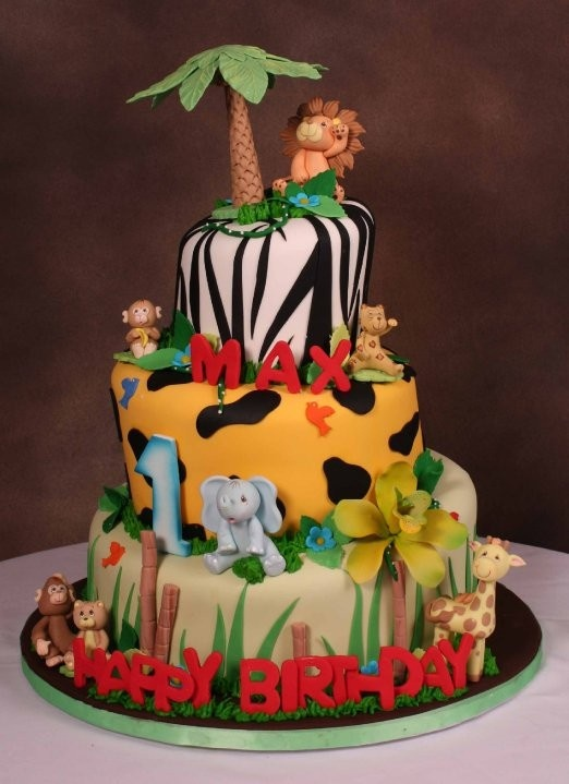 Birthday Cakes With Name N Photo ~ Jungle theme birthday cake this one already has maxs name on it lol sam n max