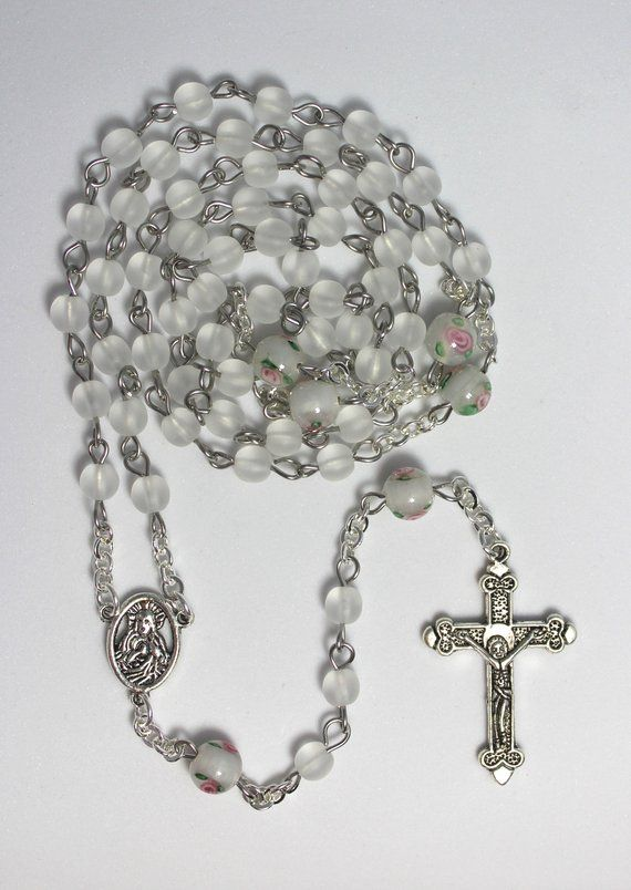 Wedding Rosary White Pearl Catholic Prayer Beads First Communion Confirmation Gift For Girl