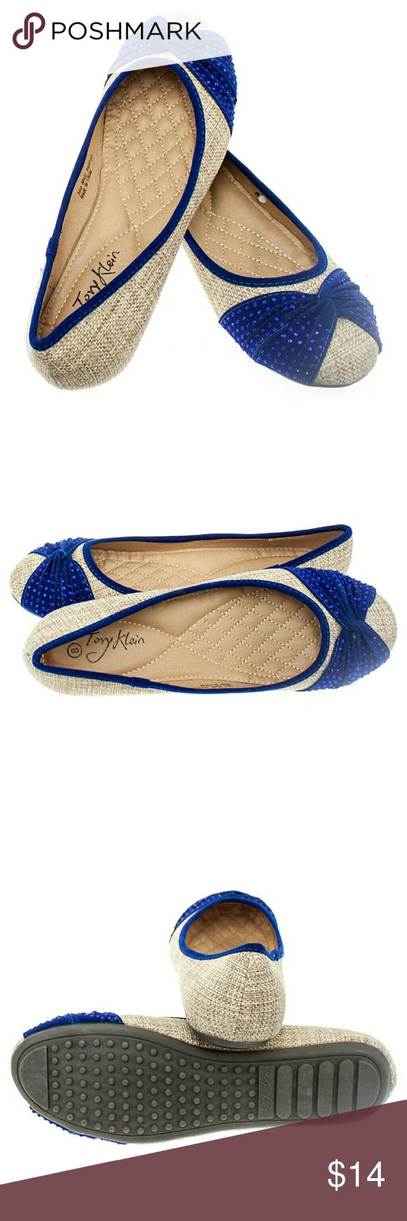 """Women 'Curtsy' Fabric Flats, b-1406, Beige Blue Brand new Tory K light beige - blue woman ballerina flats with a sequined twist in the front. Soft cushioned sole, very comfortable. Bubbled bottom sole for extra traction. A true staple in ladies shoes fashion! Measurements: larger sizes run small. Size 8 measures 9.5 inches, sz 8.5 - 9 3/4"""", sz 9 - 10"""", sz 9.5 - 10 1/4"""", sz 10 - 10.5"""", all half sizes are in 1/4 inch  increments of each other. Tory K  Shoes Flats & Loafers"""