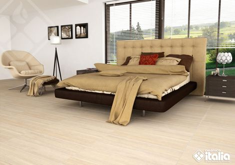 Una habitación sobria, moderna y acogedora es posible con nuestras maderas cerámicas y su diseño elegante. #habitaciónModerna #PisosDeMadera