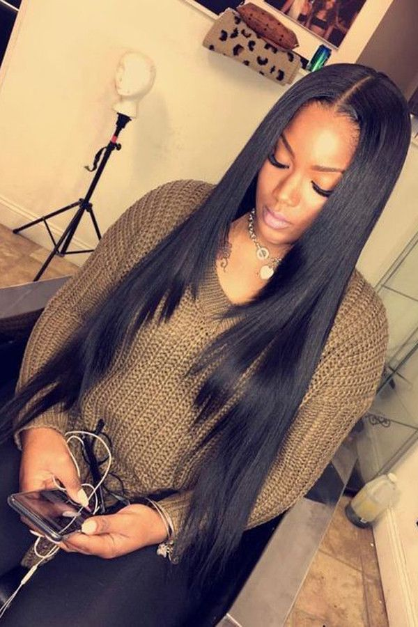 Straight Hairstyles For Black Women 100 Unprocessed Virgin Human Hair Sew In Weave Bundles With Fron Straight Hairstyles Straight Weave Hairstyles Hair Styles