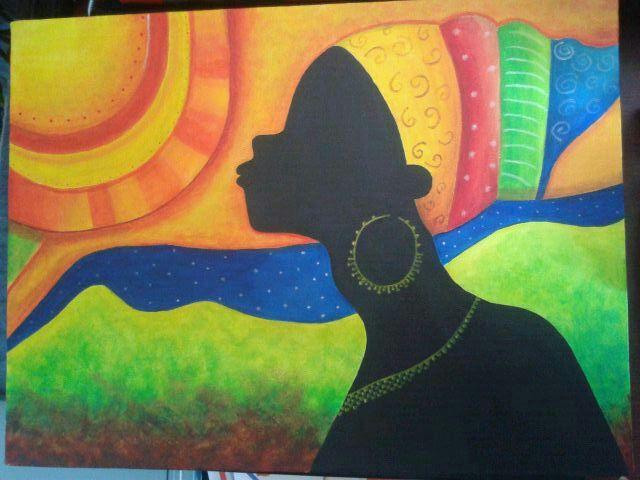 """Acrílico sobre lienzo. """"Colores de África"""" (es una reproducción, pero no sé el autor)"""