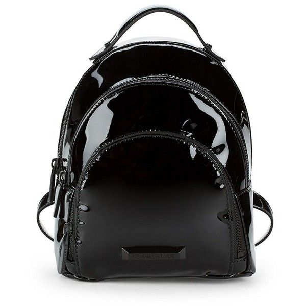 KENDALL + KYLIE Sloane Mini Patent Backpack (2 570 UAH) ❤ liked on Polyvore featuring bags, backpacks, mini zip bags, zipper bag, miniature backpack, patent leather bag and patent leather backpack