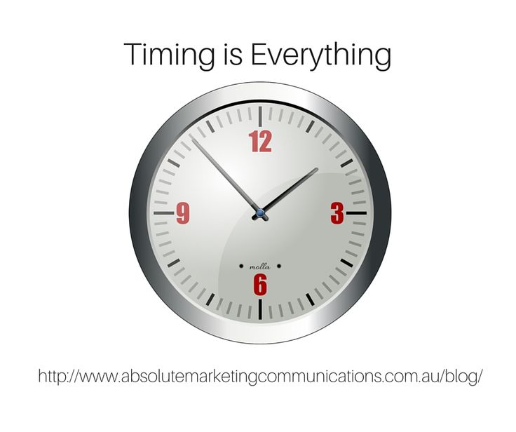 We're talking about timing in this week's blog post. http://www.absolutemarketingcommunications.com.au/blog/