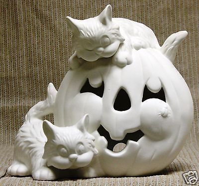 ceramic bisque pumpkins | Ceramic Bisque Pumpkin with Cats Light Kimple Mold 1561 U-Paint Ready ...