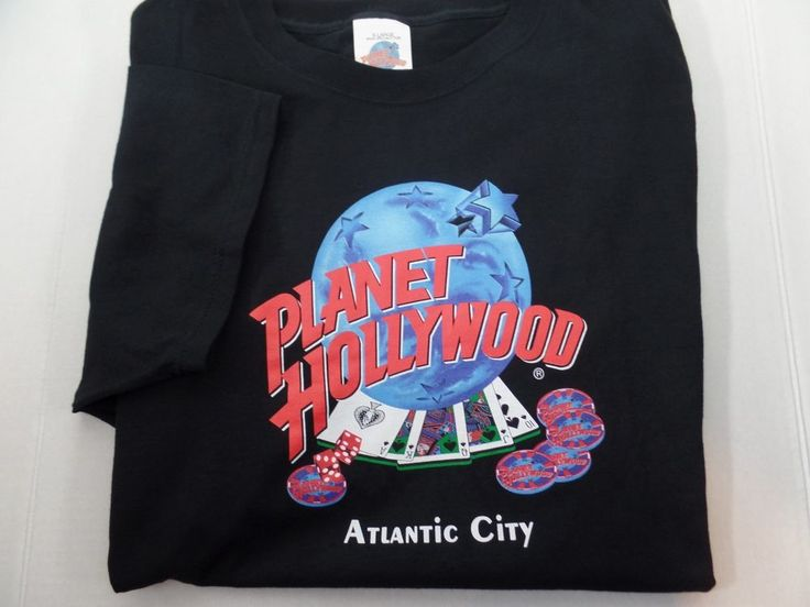 Planet Hollywood Atlantic City Mens T Shirt Tee Black Size XL 1991 #PlanetHollywood #GraphicTee
