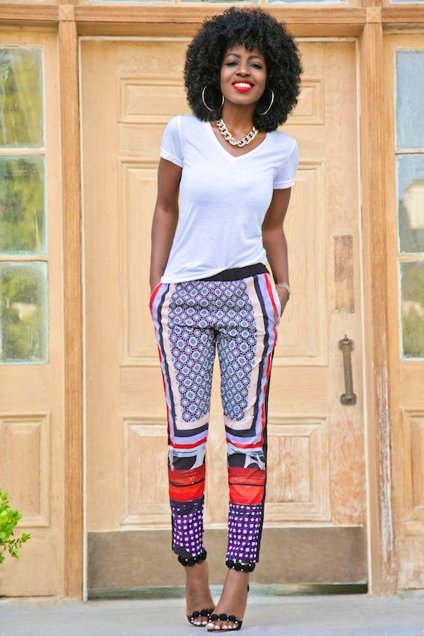 White V-Neck Tee + Printed Silk Pants