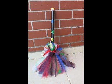 DIY Tulle Witch Broom . Make Your Own Witch Broom for Halloween. - YouTube