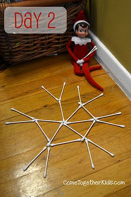 The Elf on the Shelf: Gardens Ideas, Elf On The Shelf Candy Canes, Christmas Elf, Qtips, Cute Ideas, Shelf Ideas, Qtip Snowflakes, Q Tips Snowflakes, Kid