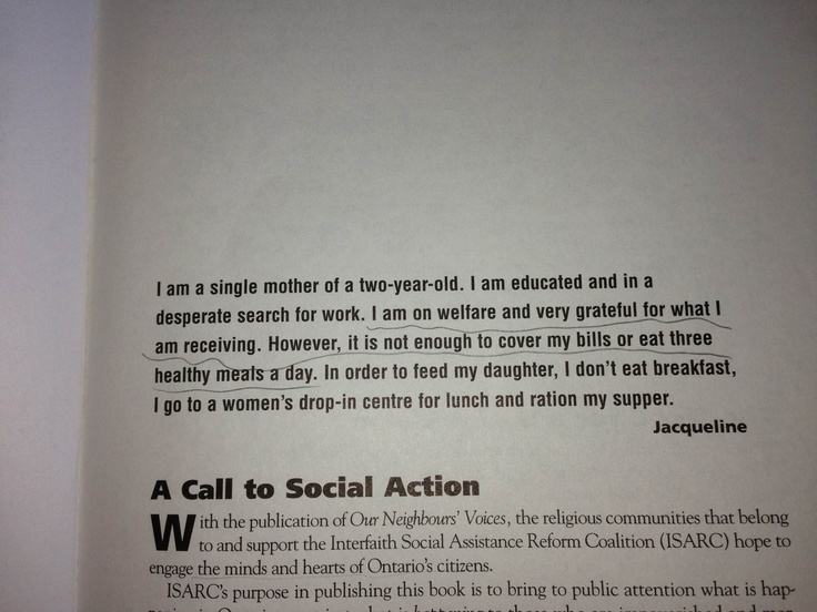 Our Neighbours Voices Will We Listend?  The Interfaith Social Assistance Reform Coalition  James Lorimer & Company Ltd. Publishers  Toronto  1998