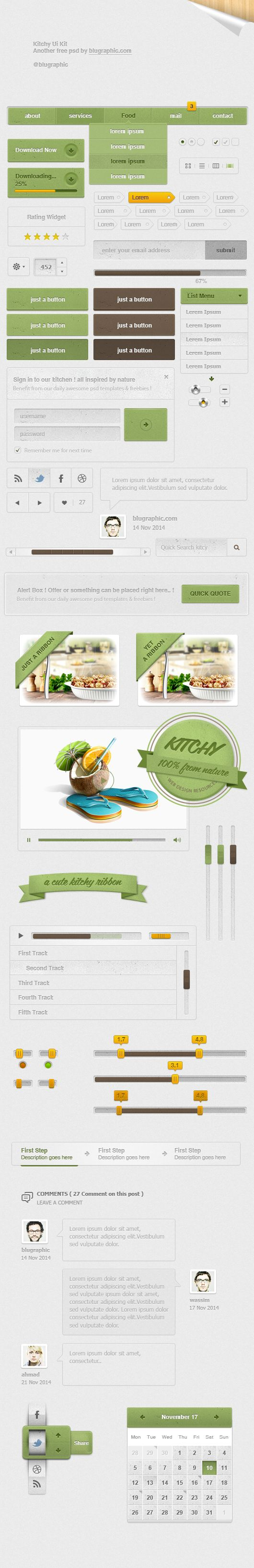 Kitchy Mega Ui Kit - psd theme