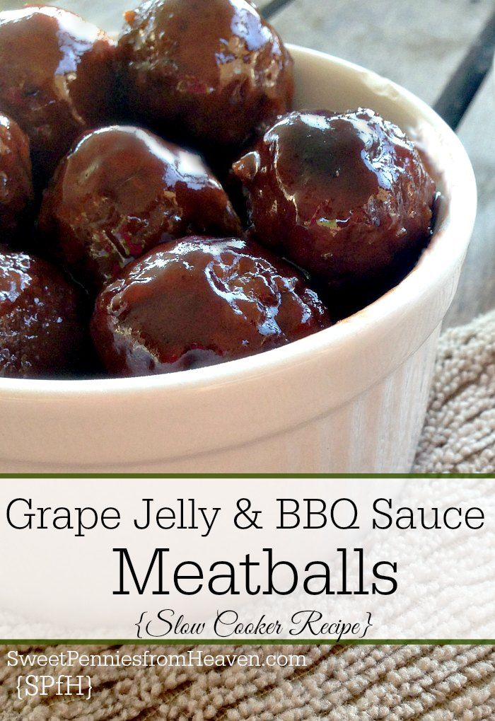 Slow Cooker Grape Jelly and BBQ Sauce Meatballs. It only takes 3 ingredients to make this meatballs recipe. Just set it and forget it! They're so delicious...sweet and tangy!