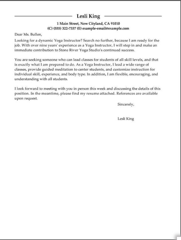 Pin By Megan On Yoga And Such Cover Letter For Resume Cover Letter Example Letter Example