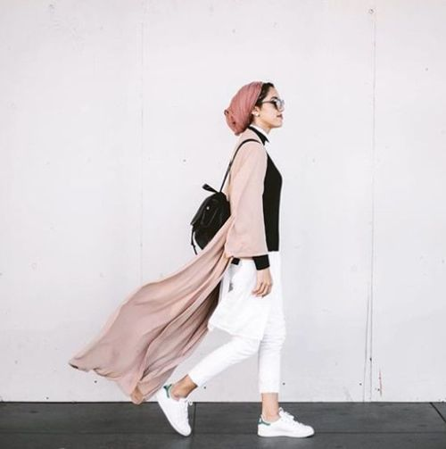 blush pink long cardigan hijab outfit