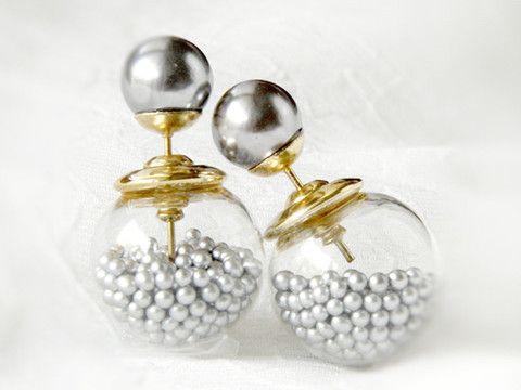 Double sided front back earrings(Glass Grey Beads) - TwinkleJewel - 1