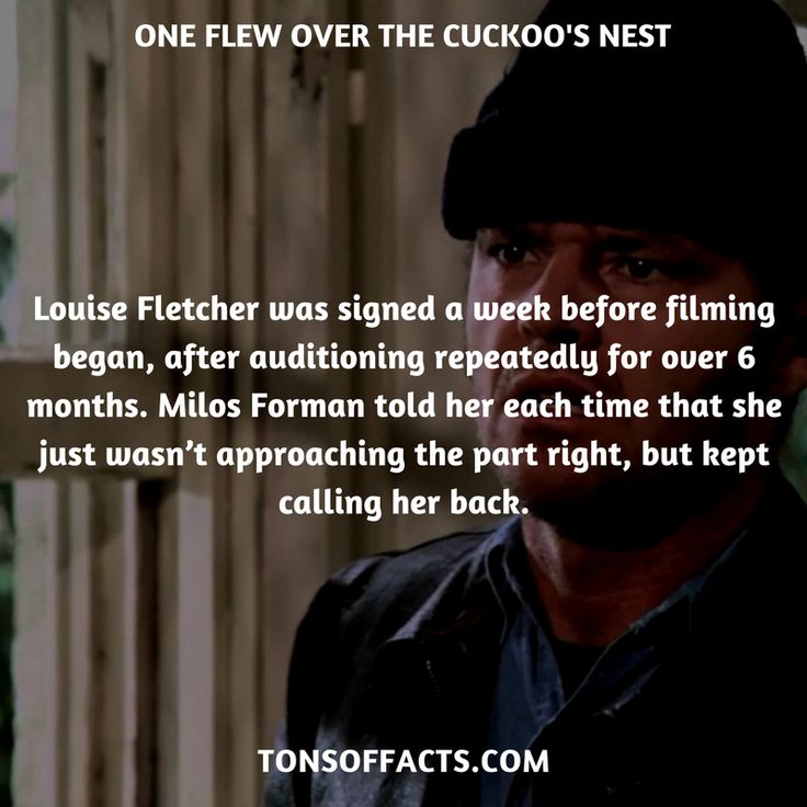Louise Fletcher was signed a week before filming began, after auditioning repeatedly for over 6 months. Milos Forman told her each time that she just wasn't approaching the part right, but kept calling her back. #oneflewoverthecuckoosnest #movies #interesting #facts #fact #trivia #awesome #amazing #1 #memes #moviefacts #movietrivia #oneflewoverthecuckoosnestfacts #oneflewoverthecuckoosnesttrivia