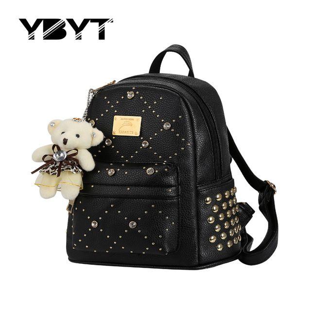 Ybyt marca 2017 novo pacote de diamantes rebite mochila mulheres de alta qualidade de compras de lazer senhoras estilo preppy mochila sacos de urso