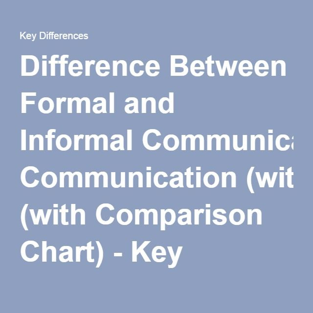 Difference Between Formal and Informal Communication (with Comparison Chart) - Key Differences