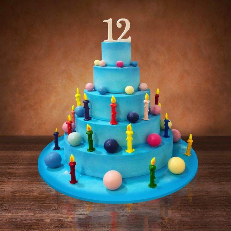 Blue cake with more color chocolate balls 💙 Синий торт с разноцветными шоколадными шарами