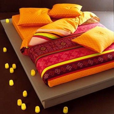 Moroccan bedding - Not sure how relaxing these colors would be over the long haul but initial response: YES!