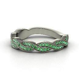 Ariadne Band, Palladium Ring with Emerald from Gemvara: Rings Dresses Weddings, Rings Rings, Fab Rings, Ariadne Band, Band Ariadne, Wedding Bands, Blue Rings