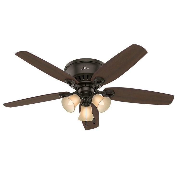 "52"" Builder Low Profile Quiet Ceiling Fan w Light Bronze Reversible Home Living #HunterFanCompany #Traditional"