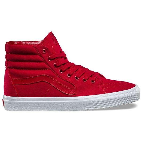 Vans Mono Canvas SK8-Hi ($60) ❤ liked on Polyvore featuring men's fashion, men's shoes, men's sneakers, red, mens cap toe shoes, mens lace up shoes, mens canvas sneakers, mens red shoes and mens high top shoes