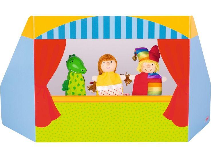 Kaufladen Kasperletheater Holz ~   Kasperletheater 1, Puppentheater, incl 3 Puppen, Köpfe aus Holz