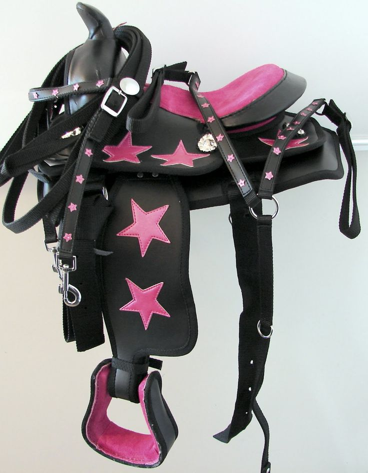 sparkley western saddles for sale | ... Star on Black Synthetic Pony Kid Show Trail Western Saddle + Free Tack