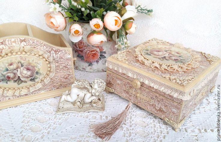 Купить «Бежевые розы» Шкатулка для украшений, рукоделия, чайных пакетиков - винтаж, шебби шик
