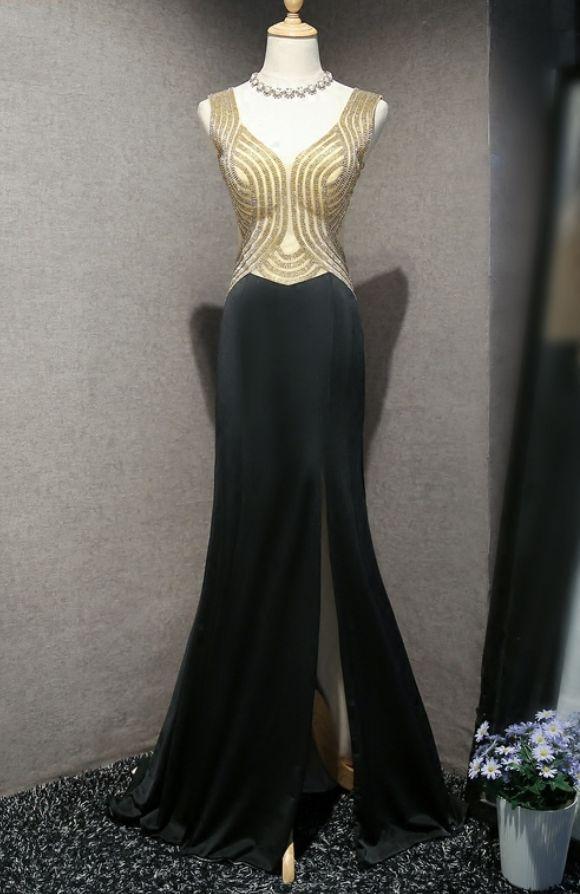 Sparkly Long Prom Dresses for Girls Womens Party Beaded Side Slit Black Prom kleider Evening Dresses For Graduation