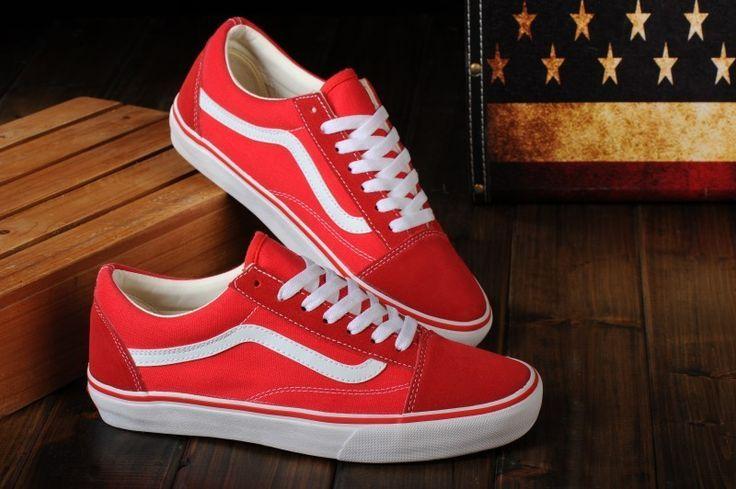 Vans Schuhe Rot Weiss Original Old Skool Unisex Low Red Vans Outfit Red Vans White Vans Outfit