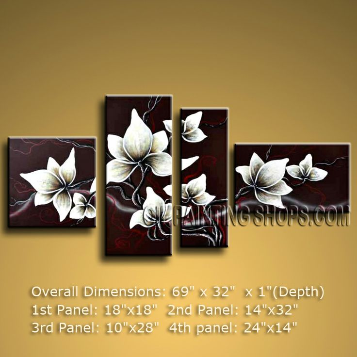 Tetraptych Contemporary Wall Art Floral Painting Tulip Flower On Canvas. In Stock $135 from OilPaintingShops.com @Bo Yi Gallery/ ops2440