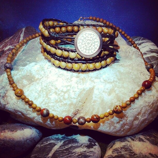 SemiPrecious Combinations - WOOD VEIN JASPER Triple Bracelet + WOOD VEIN & PICASSO JASPER Necklace