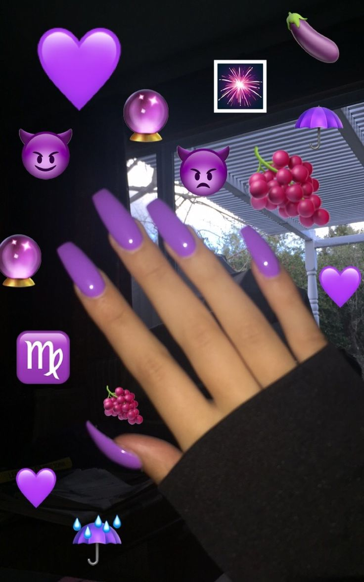Pink glittery emoji nail art 183 how to paint a glitter - Xl Purple Coffin Nails You Could Also Add Crystals To One Of The Nails For An Accent Nail