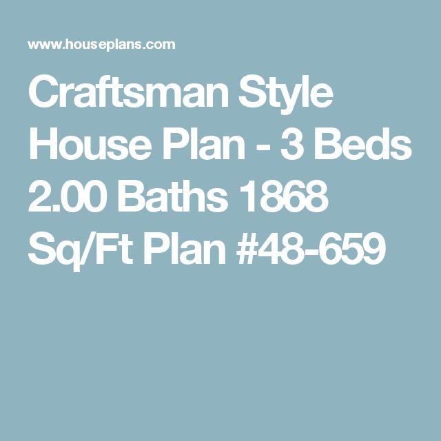 Craftsman Style House Plan - 3 Beds 2.00 Baths 1868 Sq/Ft Plan #48-659
