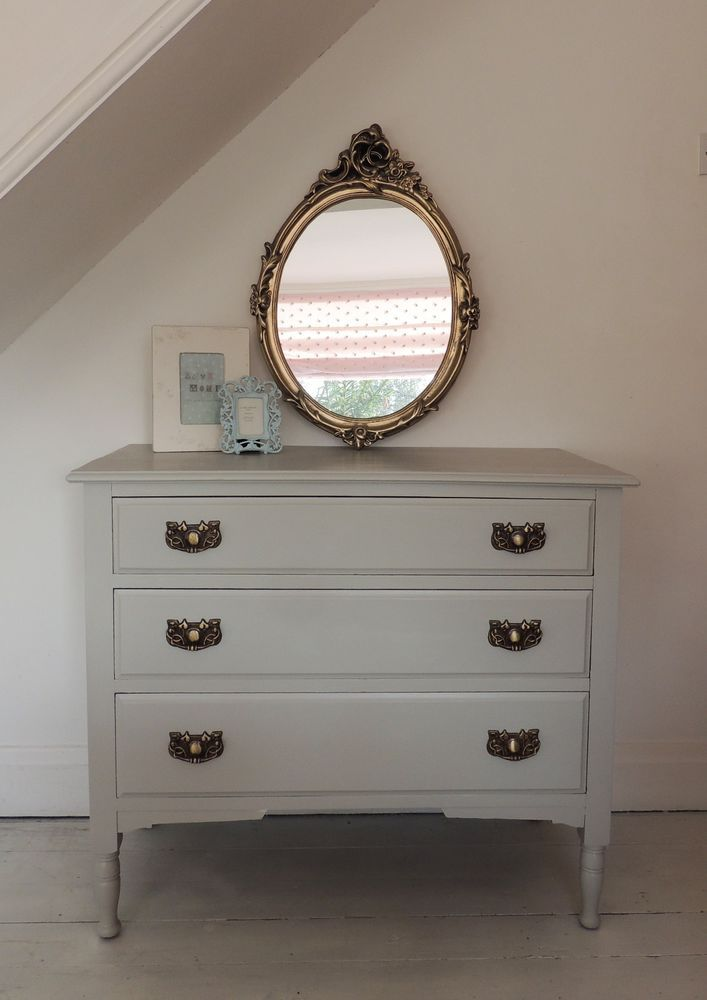 Painted Grey Shabby Chic Chest Of Drawers In Farrow And