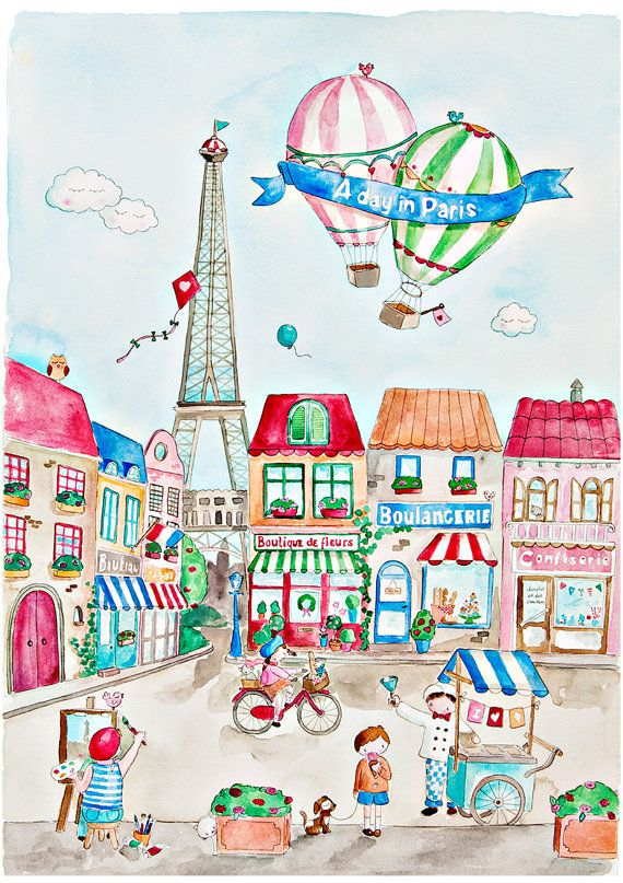 A Day in Paris French Nursery Art Watercolor by PoppyandScout
