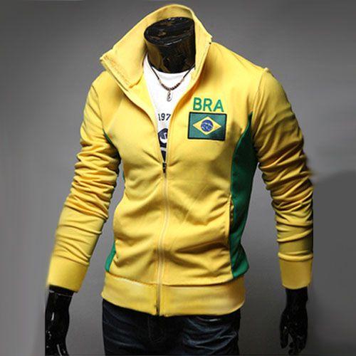 Veste Jogging Homme Fashion Casual Coupe du monde Jacket Sport Bresil Jaune