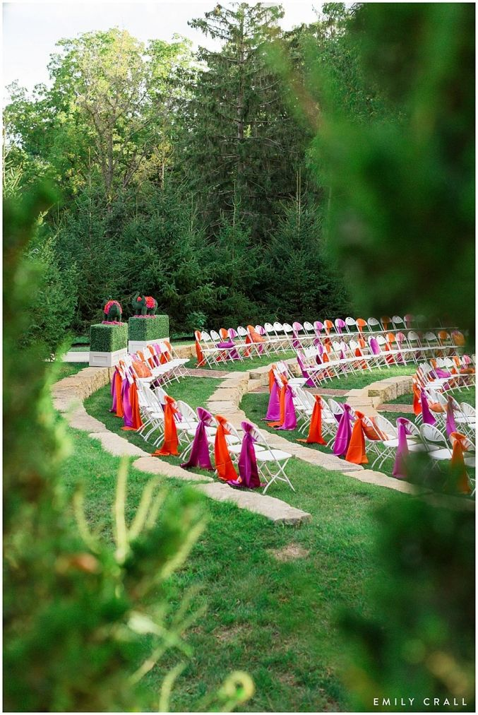 Celebration Farm Indian wedding; Indian Hindu wedding; ceremony decor; elephant topiary; flower swag; arches