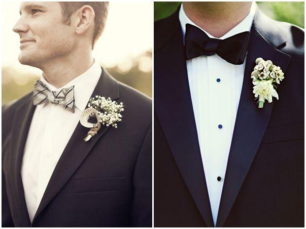 Trajes de novio en blanco y negro - Un novio lleno de detalles en blanco y negro
