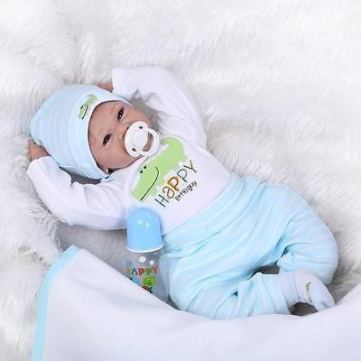 22inch Lifelike Reborn Baby Dolls Newborn Soft Vinyl Silicone Doll Handmade New