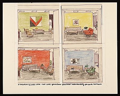 Citation: sketches of various color and furniture schemes for each CBS entrance, 1964 . Florence Knoll Bassett papers, Archives of American Art, Smithsonian Institution.