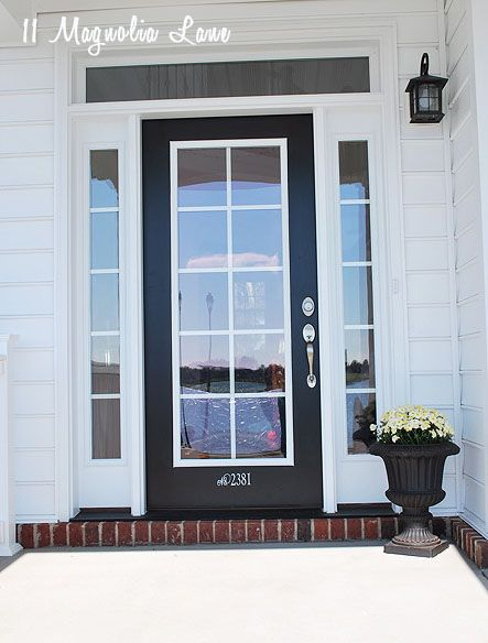 Amy 39 s updated house tour front doors window frames for Black french doors exterior