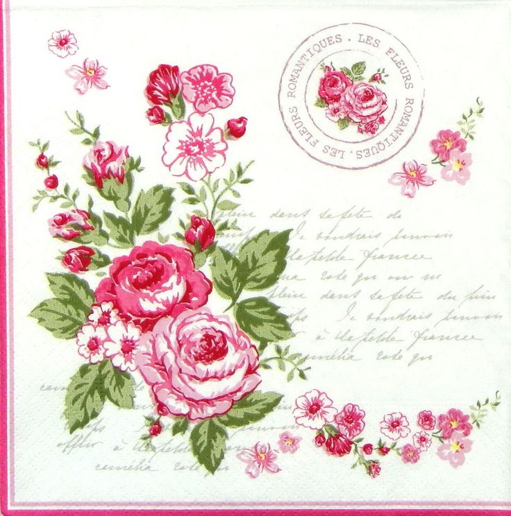 4 x Single Luxury Paper Napkins for Decoupage and Craft Vintage Le Rosier Rose