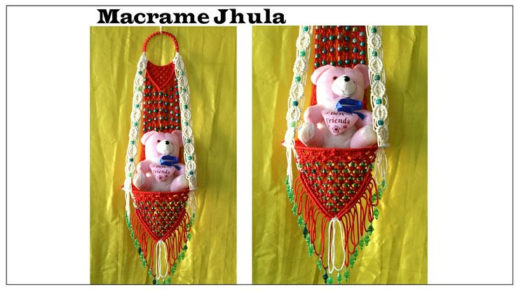 Full making of Macrame jhula| Red & White| New design| #2
