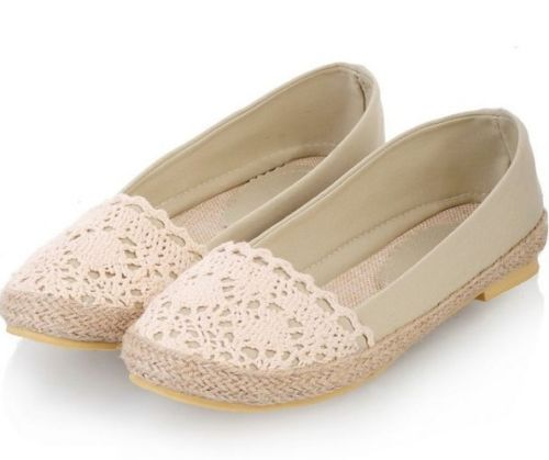 Womens Ladies Canvas Knitted Mesh Slip On Loafers Flat Shoes Plus Size 208 | eBay