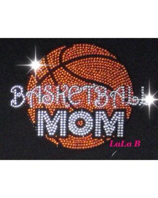 Basketball mom iron on hot fix rhinestone bling transfer - DIY motif design appliqué for shirts t shirts tees - custom hotfix on Etsy, $8.99